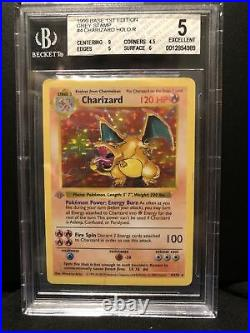 BGS 5 Excellent Condition 1st Edition Base Set Charizard Misprint Grey Stamp