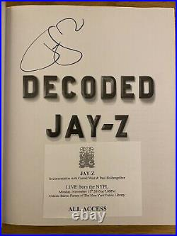 Decoded SIGNED COPY by Jay-Z (2010, Hardcover First Edition) Excellent Condition
