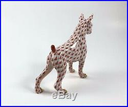 Herend FIRST EDITION RUST Fishnet Boxer Dog EXCELLENT CONDITION