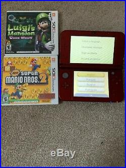 USED IN EXCELLENT CONDITION Nintendo 3DS XL Console RED US VERSION + 2 Games